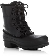 Hunter Patent Leather Lace Up Shearling Lined Rain Boots