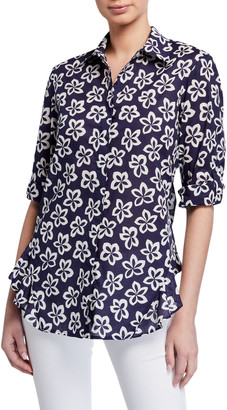 Finley Agetha Floral Medallion Button-Front Voile Shirt