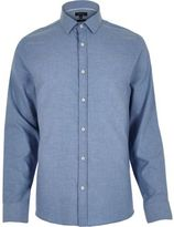 River Island MensBlue herringbone slim shirt