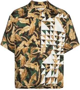 Cmmn Swdn Short Sleeve Geometric Print Silk Shirt