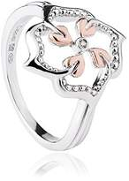 Clogau Gold Clogau 925 Sterling Silver and 9ct Rose Gold Tree of Life Flower Ring - Size J