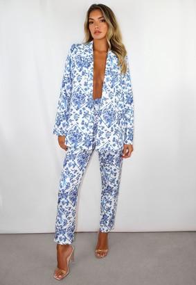 Missguided Blue Porcelain Print Co Ord Basic Cigarette Trousers