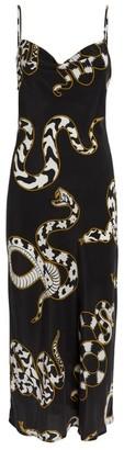 Olivia von Halle Snake Print Bibi Slip Dress