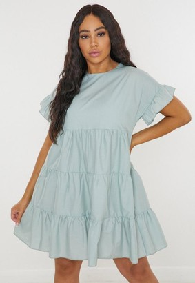 Missguided Plus Size Green Frill Sleeve Smock Dress