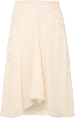 Chloé Crochet-paneled Ruched Silk Crepe De Chine Skirt