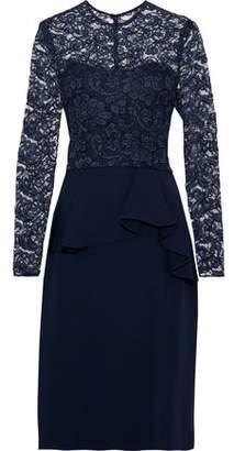 Reem Acra Corded Lace-paneled Crepe De Chine Peplum Dress