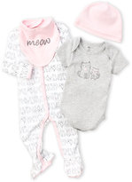 Petit Lem Newborn/Infant Girls) 4-Piece Kitty Footie & Bodysuit Set