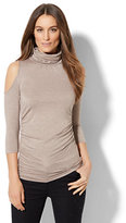 New York & Co. 7th Avenue Design Studio - Cold-Shoulder Turtleneck Sweater
