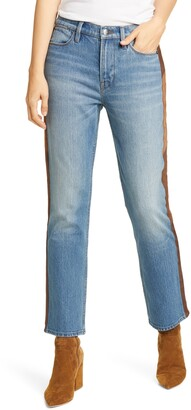 Frame Le High Straight Side Panel Jeans
