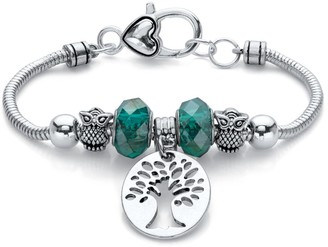 PalmBeach Jewelry Silvertone Antiqued Bali Style Tree of Life and Owl Charm Bracelet