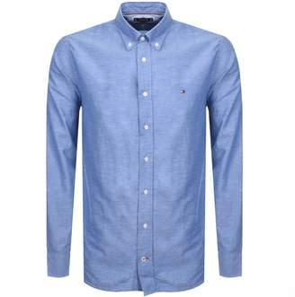 Tommy Hilfiger Long Sleeved Dobby Linen Shirt Blue