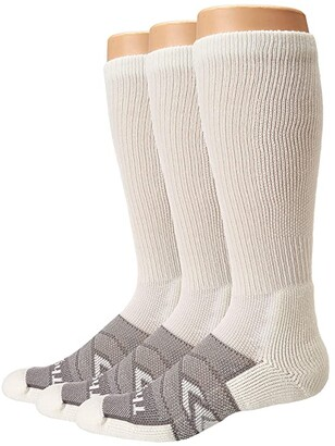 Thorlos 12 Hour Shift Over Calf 3-Pair Pack (White/Grey) Crew Cut Socks Shoes