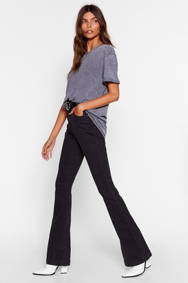 Nasty Gal Womens Donna High-Waisted Flare Jeans - black - 14