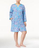 Miss Elaine Plus Size Paisley-Print Knit Zip-Front Robe