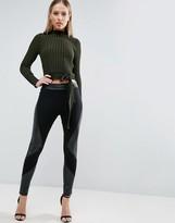 Asos Leather Look Paneled Leggings