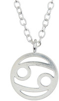Kris Nations Sterling Silver Plated Zodiac Circle Pendant Charm Necklace