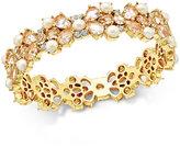 Kate Spade Gold-Tone Imitation Pearl and Crystal Hinged Bangle Bracelet