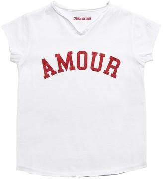 Zadig & Voltaire Glittered Print Cotton Jersey T-Shirt