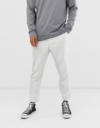 Asos Design DESIGN tapered crop smart trouser with half elasticated waist in off white texture
