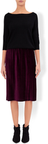 Monsoon Olivia Velvet Pleated Skirt