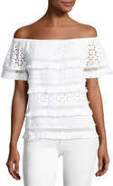 Neiman Marcus Off-the-Shoulder Eyelet Crop Top, White