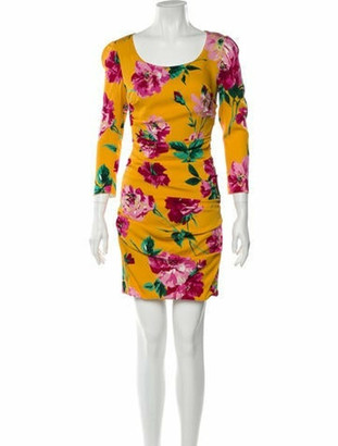 Dolce & Gabbana Silk Mini Dress Yellow