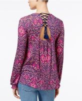 Jessica Simpson Marisol Printed Lace-Up-Back Top