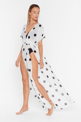 Nasty Gal Womens I'm Dot Shady Cover-Up Maxi Dress - White - 10, White