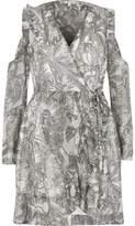 River Island Womens Grey leaf print cold shoulder wrap dress
