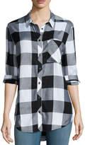 Arizona Long Sleeve Plaid Button-Front Shirt-Juniors