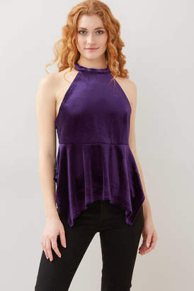 A Love Like You Velvet Open Back Halter Top Purple XS