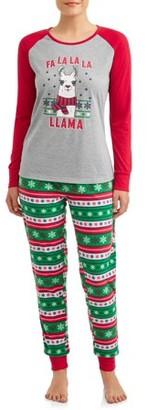 Jolly Jammies Matching Family Christmas Pajamas Womens and Womens Plus 2-Piece Llama Set