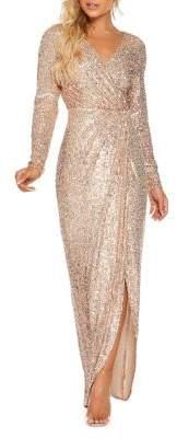 Quiz Sequined Long-Sleeve Wrap Maxi Dress