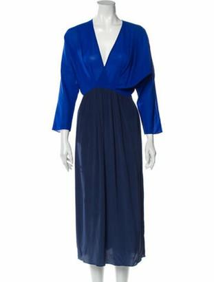 Tome V-Neck Long Dress Blue