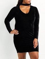 Charlotte Russe Plus Size Velvet Choker Neck Bodycon Dress
