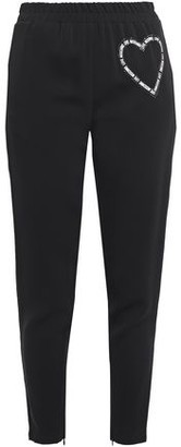 Love Moschino Cropped Crystal-embellished Printed Stretch-crepe Tapered Pants