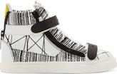 Giuseppe Zanotti White Abstract Print High-Top Sneakers