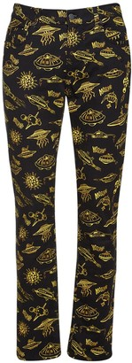 Moschino Space Ship Print Stretch Slim Fit Jeans