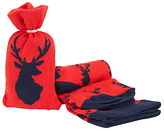John Lewis Stag Socks In A Bag, One Size, Red/navy