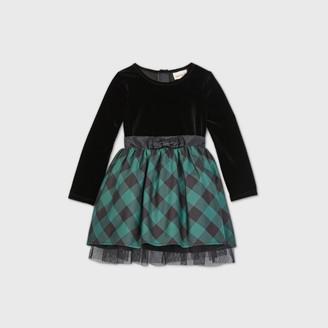Cat & Jack Toddler Girls' Velour Plaid Long Sleeve Dress - Cat & JackTM