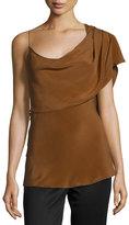 Cushnie et Ochs One-Shoulder Draped Tank Top, Tan/Camel