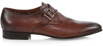 Santoni Monk-Strap Leather Oxford Loafers