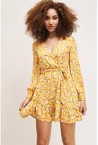 Dynamite Ruffle Wrap Dress - FINAL SALE Yellow Floral
