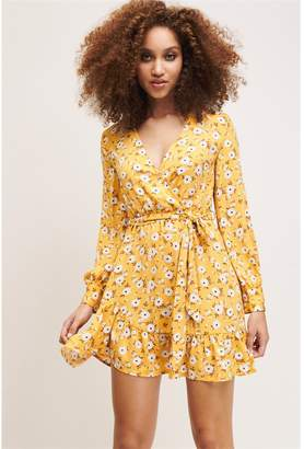 Dynamite Ruffle Wrap Dress - FINAL SALE Yellow Floral