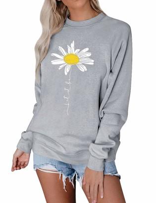 Dresswel Women Let It Be Daisy Print Sweatshirt Crew Neck Long Sleeve Tops Pullover Jumpers Blouse Grey