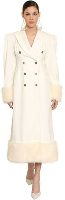 ROWEN ROSE Cotton Velvet Coat W/faux Fur Trim