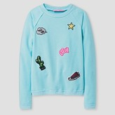 Say What Girls' Patch Print Pullover Sweater - Jade