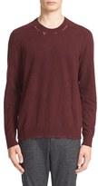 Lanvin Men's Ripped Crewneck Sweater