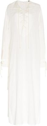Ann Demeulemeester Lace-Up Cotton-Blend Shirt Dress