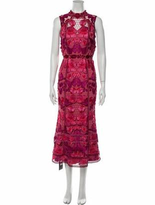 Marchesa Notte Lace Pattern Long Dress w/ Tags Pink